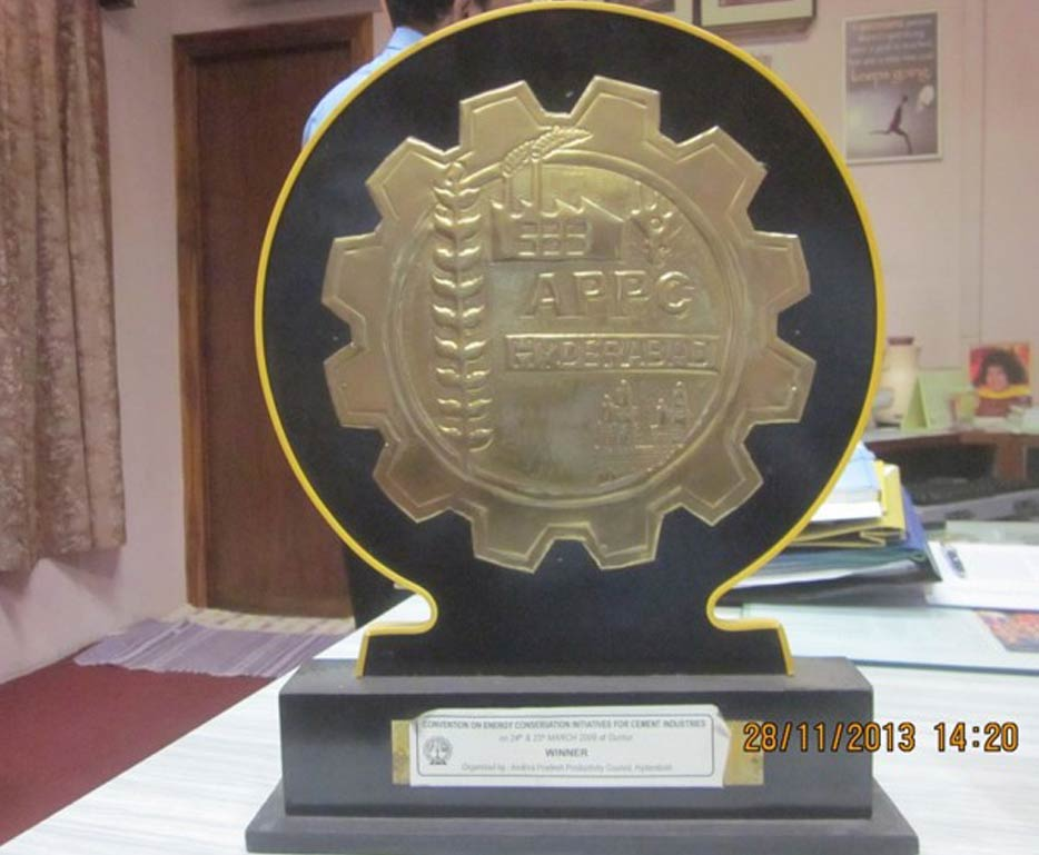 Winner in the convention of Energy Conservation Initiatives for Cement Industries organised by 	Andhra Pradesh Productivity Council on 24th & 25th March, 2009 at Guntur.