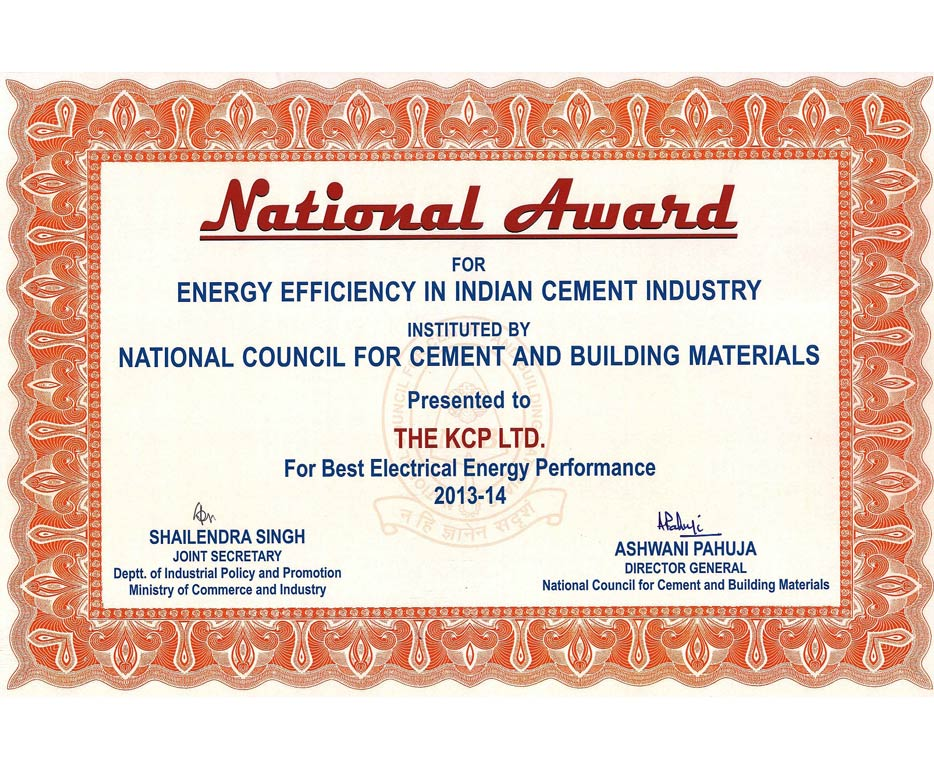 Shri AshwaniPahuja The Director General, National Council for Cement and Building Materials and Shri Shailendra Singh, Joint Secretary of Dept. of Industrial Policy and Promotion Ministry of Commerce and Industry has presented <b>Best Electrical Energy Performance Award</b> for 2013-14 and 2014-15 to KCP Cement Unit-II instituted by National council for Cement and Building Materials(NCB), New Delhi on 4th December 2015